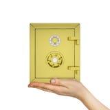 De gouden brandkast van de handholding Stock Afbeeldingen