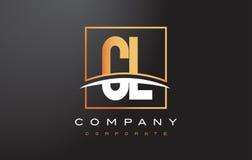 De Gouden Brief Logo Design van cl C L met Gouden Vierkant en Swoosh Stock Foto