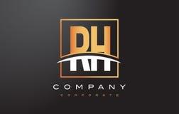 De Gouden Brief Logo Design van relatieve vochtigheid R H met Gouden Vierkant en Swoosh Royalty-vrije Stock Afbeeldingen