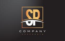 De Gouden Brief Logo Design van SP S P met Gouden Vierkant en Swoosh Stock Afbeelding