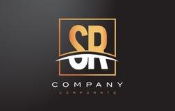 De Gouden Brief Logo Design van SR S R met Gouden Vierkant en Swoosh Stock Afbeeldingen