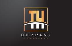 De Gouden Brief Logo Design van Th T H met Gouden Vierkant en Swoosh Royalty-vrije Stock Foto