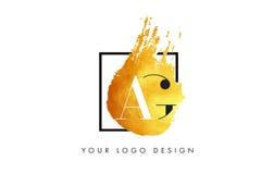 De Gouden Brief Logo Painted Brush Texture Strokes van ab Stock Foto's