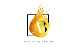 De Gouden Brief Logo Painted Brush Texture Strokes van ab Royalty-vrije Stock Fotografie