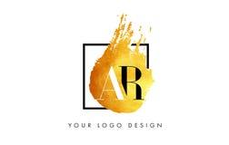 De Gouden Brief Logo Painted Brush Texture Strokes van AR Royalty-vrije Stock Afbeeldingen