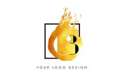 De Gouden Brief Logo Painted Brush Texture Strokes van BB Stock Fotografie