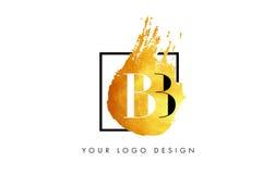 De Gouden Brief Logo Painted Brush Texture Strokes van BB Stock Foto