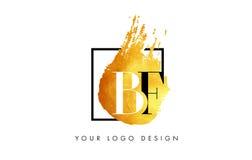 De Gouden Brief Logo Painted Brush Texture Strokes van BF Stock Foto's