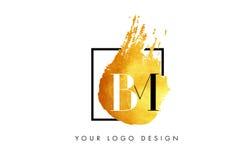 De Gouden Brief Logo Painted Brush Texture Strokes van BM Stock Fotografie