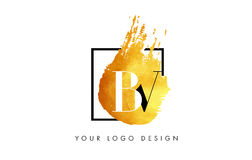 De Gouden Brief Logo Painted Brush Texture Strokes van BV Royalty-vrije Stock Afbeelding