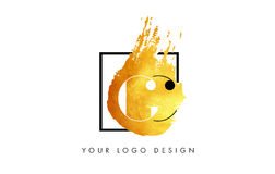 De Gouden Brief Logo Painted Brush Texture Strokes van CC Stock Fotografie