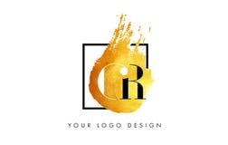 De Gouden Brief Logo Painted Brush Texture Strokes van Cr Royalty-vrije Stock Foto