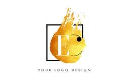 De Gouden Brief Logo Painted Brush Texture Strokes van de EG Stock Foto
