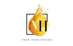 De Gouden Brief Logo Painted Brush Texture Strokes van MH Royalty-vrije Stock Afbeelding