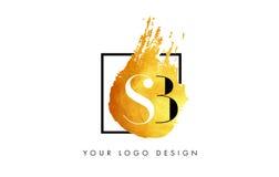De Gouden Brief Logo Painted Brush Texture Strokes van Sb Royalty-vrije Stock Fotografie