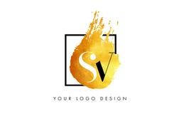 De Gouden Brief Logo Painted Brush Texture Strokes van SV Royalty-vrije Stock Afbeeldingen