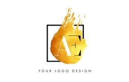 De Gouden Brief Logo Painted Brush Texture Strokes van VE Royalty-vrije Stock Foto's