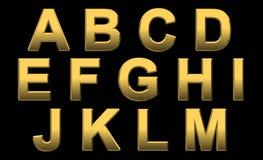 De gouden Brieven A M van het Alfabet Royalty-vrije Stock Afbeelding