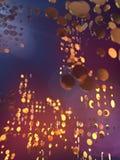 De gouden cirkels vatten futuristische achtergrond samen het 3d teruggeven Stock Foto's