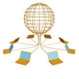 De gouden computers worden aangesloten in globa vector illustratie