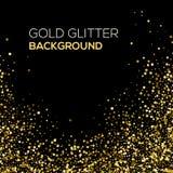 De gouden confettien schitteren op zwarte achtergrond Het abstracte stofgoud schittert achtergrond Gouden explosie van confettien Stock Foto's