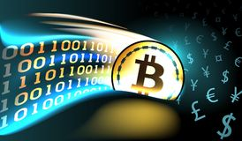 De gouden crypto munt bitcoin met gloeiende binaire sleep opent de era van digitaal geld royalty-vrije illustratie