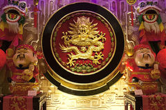 De gouden cultuur van China van de draak rode kleur Stock Foto's