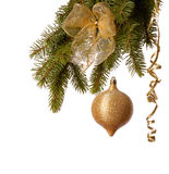 De gouden decoratie van Kerstmis Stock Afbeelding