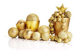 De gouden decoratie van Kerstmis Stock Foto's
