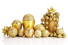De gouden decoratie van Kerstmis Stock Fotografie