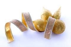 De gouden decoratie van Kerstmis Stock Afbeeldingen