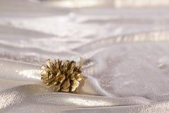 De gouden denneappel ligt op de gouden golven Royalty-vrije Stock Foto's