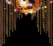De gouden discobal en schittert gordijnen Stock Foto