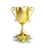 De gouden dollar van de trofeekop Royalty-vrije Stock Foto