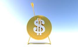 De gouden Dollar van het Doel van het Boogschieten Royalty-vrije Stock Foto's