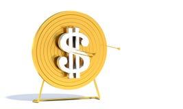 De gouden Dollar van het Doel van het Boogschieten Stock Afbeeldingen