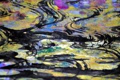 De gouden donkere roze cirkelgolven schilderen plonsen, kleurrijke levendige wasachtige kleuren, contrasten creatieve achtergrond stock afbeeldingen