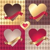 De gouden en rode harten en lintenreeks van de Valentijnskaart Royalty-vrije Stock Foto's