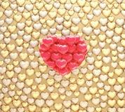 De gouden en rode illustratie van de hartenballon stock foto