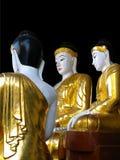 De gouden en witte standbeelden van Boedha bij de Shwedagon-Pagode in Yangon Stock Foto