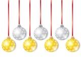 De gouden en Zilveren Ballen van Kerstmis Royalty-vrije Stock Foto's