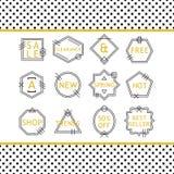 De gouden en zwarte die emblemen van de lijnverkoop op witte achtergrond worden geplaatst Royalty-vrije Stock Foto