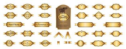 De gouden etiketten van de premieluxe en leeg etiketten vectorontwerp Royalty-vrije Stock Afbeeldingen