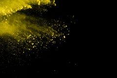 De gouden explosie van poederdeeltjes Schitter uitbarsting met gouden textu royalty-vrije stock afbeelding