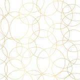 De gouden foliecirkels vatten naadloos vectorpatroon samen Moderne elegante glanzende gouden overlappende cirkels als achtergrond stock illustratie