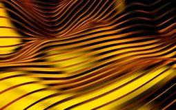 De gouden futuristische achtergrond van streepgolven 3d geef terug Stock Afbeeldingen