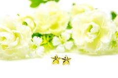 De gouden geïsoleerde juwelen van de de oorringsster van de tegenhangerkamee met bloemen Stock Afbeelding