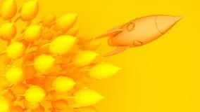 De gouden gele raket van het raketlood, opstarten, illustratieconcept van leider op een markt Stock Foto's