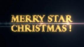 De gouden gele tekst van de STERkerstmis van het laserneon VROLIJKE met glanzende lichte optische gloedanimatie op zwarte nieuwe  stock illustratie