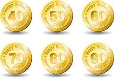 De gouden gelukkige verjaardag van de medaille stock illustratie